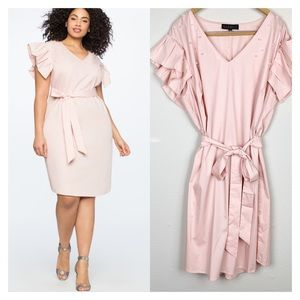 Eloquii Front Pleated Sleeve Pink Dress Size 20